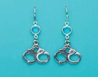Handcuffs Earrings, Hand Cuffs Earrings, Aqua Crystal Earrings, Dangle Earrings, Gifts for Her, 175