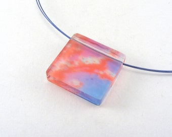 Pink Blue Square Pendant Acrylic Jewelry, Pink Blue Cherry Blossom photo image , Special Offer