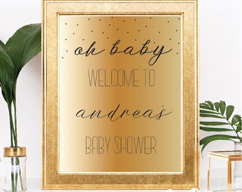 Oh Baby Welcome Baby Shower Printable Sign - Customizable Text - Gold Gradient Ombre Watercolor - Printable - 8.5x11 Digital Download