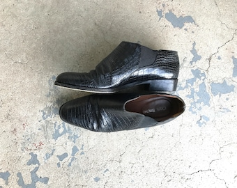 Vintage 80's boots 80's Ankle Boots Black Leather Boots 80's Leather boots 90's Shoes 7 1/2 38 1/2 90s Dress Shoes Crocodile Made In Italy N