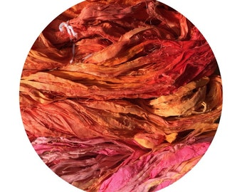 Hand dyed recycled sari ribbon -Tequila Sunrise - 1 available