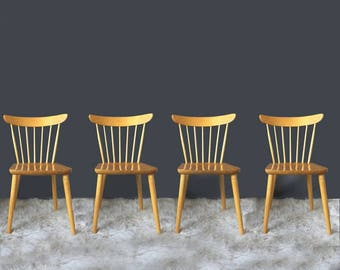 Vintage Nesto Scandinavian Modern Spindle Back Farmhouse Chairs By Lena Larsson Set of 4 in the Style of Paul McCobb