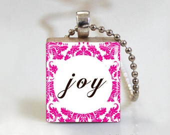 JOY Damask Print Quote - Scrabble Pendant Necklace with Free Ball Chain Necklace or Key Ring