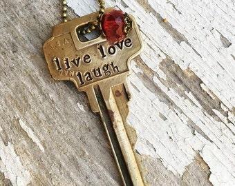 Live Love Laugh Key Necklace