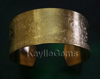 "Cuff Bracelet Victorian Pattern 1"" Wide Premium Quality USA 1 Pc"