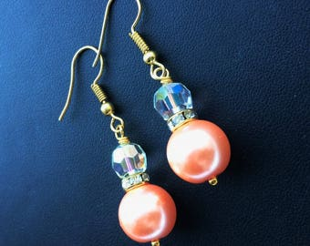 Peach and Crystal Earrings