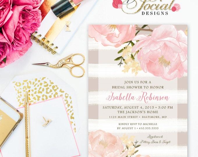 Garden Peony Flowers Bridal Shower Invitation - Taupe Stripes Blush Pink Printable Invite