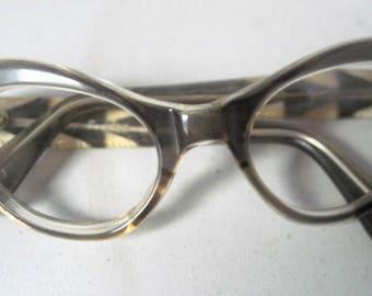 Vintage pair of rhinestone Cat Eyeglasses Made in France