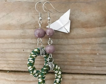 asymmetric long and dangle aluminium and glass purple and green earrings
