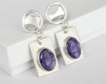Charoite Sterling Silver Dangle Earrings Metalwork Art Jewelry Modern Design