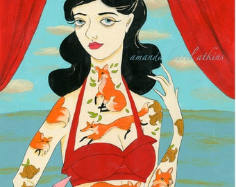 Tenderfoot print - vintage tattooed lady with foxes by Amanda Atkins