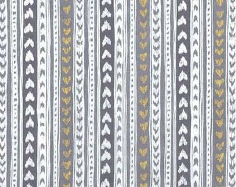 Cat's Cradle by Michael Miller - Love Lines Pewter Metallic  - Cotton Woven Fabric