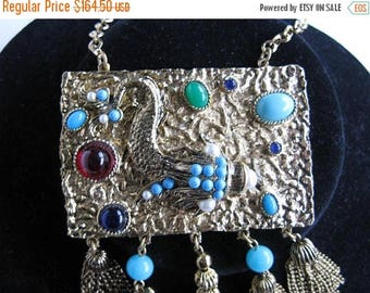 ON SALE Vintage Statement Bib Tassel Fringe Runway Aqua Gold Necklace, 1960's 1970's Collectible High End Jewelry 70's Sea Urchin Pendant
