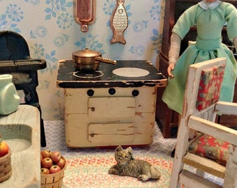 Vintage Miniature Wooden Kitchen Stove for 1:12 Scale Dollhouse