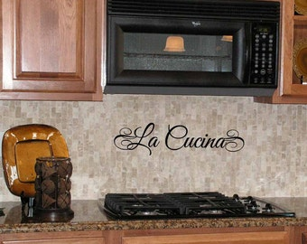 La Cucina wall decal, Italian Tuscan kitchen, Italy decor, foreign phrases, vinyl lettering quote