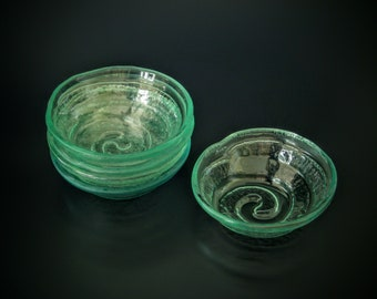 """Recycled Glass Bowl-6"""" Spiral - Salad Bowl-Cereal Bowl- Dinnerware- Handmade"""