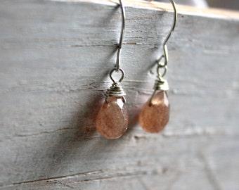 Earthy Gemstone Earrings- Small Brown Quartz Silver Dangle Earrings - Small Everyday Jewelry