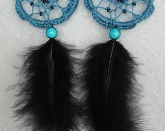 BLUE BLACK FEATHER DREAMCATCHER EARRINGS
