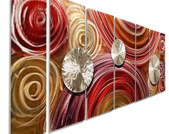 Sale! Huge Multi Panel Metal Wall Art in Pink, Gold & Red, Abstract Painting, Handmade Modern Wall Sculpture - Paparazzi XL by Jon Allen