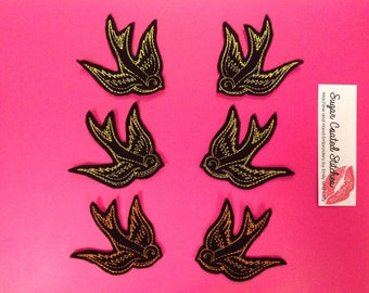Sailor Jerry Swallow PAIR Tattoo Flash Patch - Sew on, Punk, Rockabilly, Psychobilly, Yello Gold Orange, embroidery