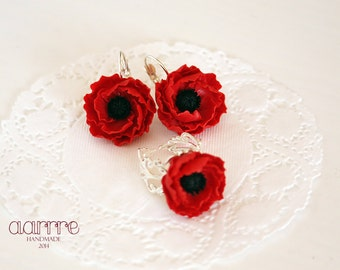 Flower jewelry set, red flower jewelry set, poppy jewelry set, red poppy jewelry set, flower earring, flower ring, poppy earring, poppy ring
