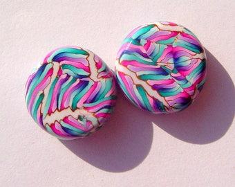 Ribbons Coin Shape Handmade Artisan Polymer Clay Bead Pair
