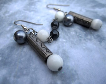 Black, White, and In Between Cyninder Dangle Earrings