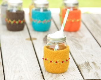 Pint size Felted wool mason jar cozy set gold pint size