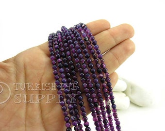 Multicolor Purple Agate Beads, 4mm Round Agate Bead Strands, One 1 Full Strand Semiprecious Gemstone Beads, Loose Beads