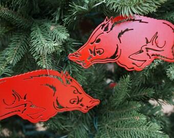 Licensed Arkansas Razorback Christmas Ornament