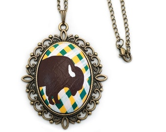 NDSU Bison Inspired Necklace Hand Painted Large Oval Pendant