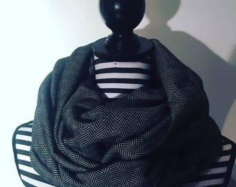 Tweed knit infinity scarf