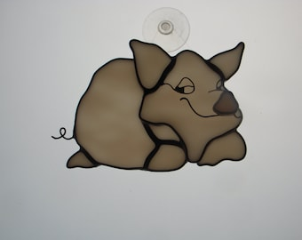 Stained Glass Suncatcher - Contented Pig (236)