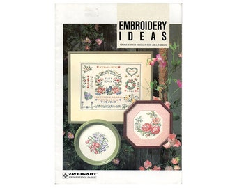 Embroidery Ideas Cross Stitch Booklet, Flowers Cross Stitch, Floral Cross Stitch Cross, Monogram Cross Stitch, by NewYorkTreasures Etsy