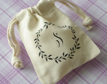 Rustic Monogram Wedding Favor Bags 3x4 and 4x6 double drawstring muslin bags. Wreath design personalized on cotton muslin bag
