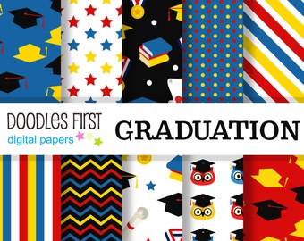 Graduation Digital Paper Pack Includes 10 for Scrapbooking Paper Crafts