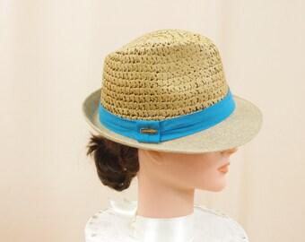 Rattan Straw Fedora, Womens Fedora, Aqua Blue Hat, Panama Hat, Straw Hat, Sun Hat, Summer Hat, Boho Hat, Fashion Hat