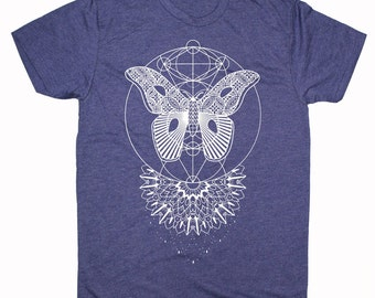 Men's MOTHLIGHT Dotwork Mandala Tee Sacred Geometry Symmetry Moth Wings Tattoo Style Shirt