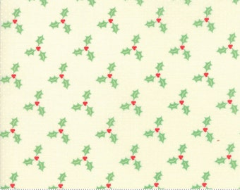 Swell Christmas by Urban Chiks for Moda, #31126-21, Holly on Cream Tone on Tone Dot, Christmas Fabric, Christmas in July, IN STOCK