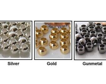 Large Hole 6mm Round Metal Brass Beads 25 Ur Pick Silver Gold Gunmetal