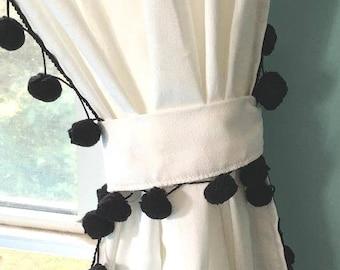 Vintage Black Pom Pom Country Cottage Curtain