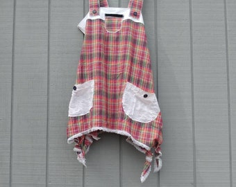 Sweet summer top,plaid,purple,white,pinafore top,lagenlook,upcycled clothing,repurposed clothing,summer top,summer clothing,eco friendly
