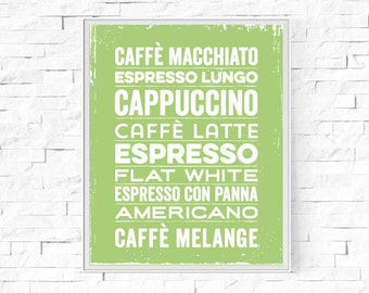 """Printable Coffee Menu Kitchen Print - Wall Art - Digital Word Poster - Contemporary Wall Decor - Instant Download - 8""""x10"""" and A4."""