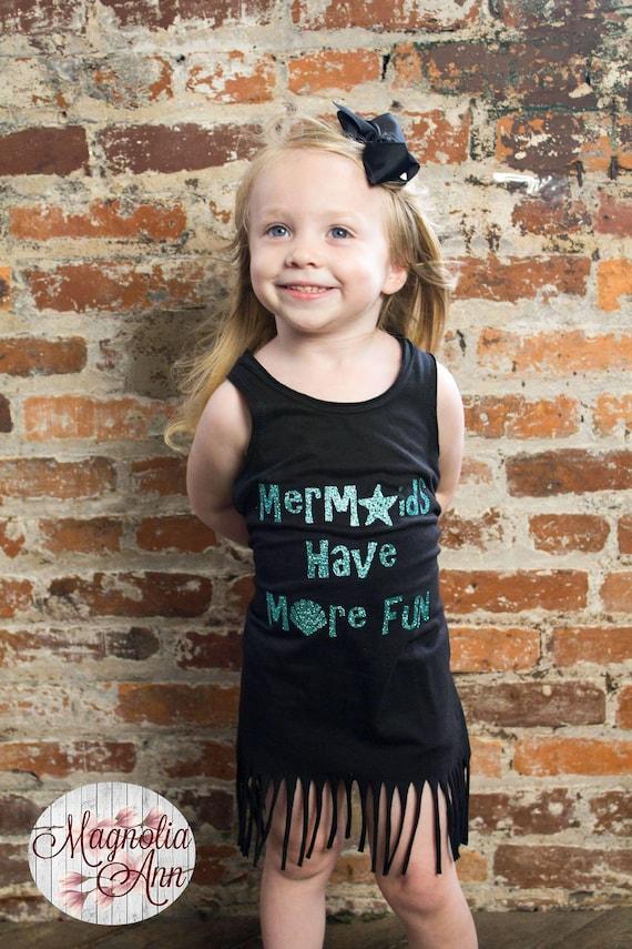 Mermaids Have More Fun Dress, Summer Dress, Girls Fringe Dress, Girls Beach Dress, Toddler Dress, Infant Dress, Baby Dress, Mermaid Dress