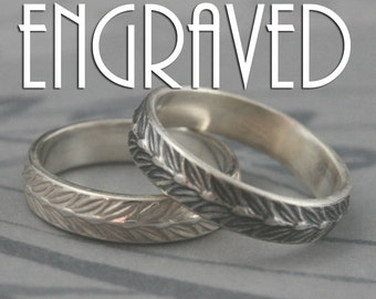 Sterling Silver Laurel Leaf Band--Solid Silver Wedding Band-Men's Patterned Band--Silver Ring-Custom made to Size -Custom Engraving for You