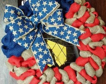 American Flag Wreath, Fourth of July Wreath, Patrioric Wreath, Burlap Flag Wreath, American Flag, 4 of July Wreath, Military, Veteran Wreath