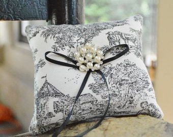 Black and Ivory Toile Canvas Ring Bearer Pillow
