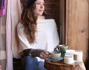 Cream white cashmere poncho- cashmere wrap- asymmetrical poncho- cape-let- recycled sweater- patchwork - eco clothing- soft throw- one size