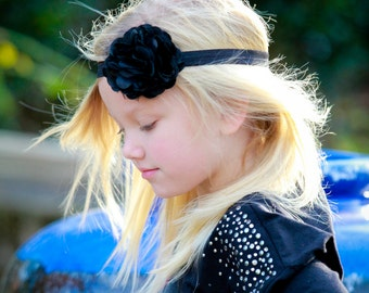 Black Flower Headband - Black Satin and Tulle Flower Puff Headband or Hair Clip - Infant Toddler Girls Headband