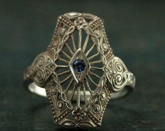 Antoinette Filigree Sapphire Ring--Victorian Style Filigree Ring--Art Deco Style Sapphire Ring--Victorian Lace Ring--Genuine Sapphire